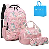 Meisohua School Backpacks Set Girls Unicorn Backpack with Lunch Bag and Pencil Case Kids 3 in 1 Bookbags Set School Bag for Elementary Preschool Water Resistant (Pink)
