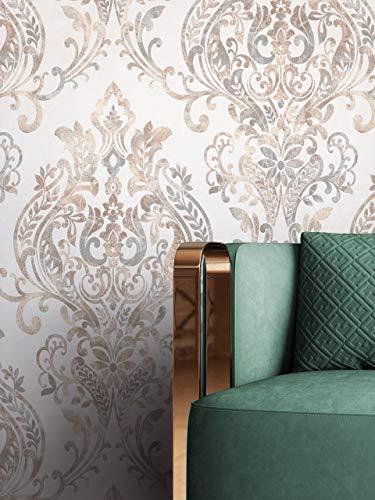 NEWROOM Tapete Weiß Vliestapete Ornament - Barocktapete Barock Beige Grau Metallic Beton-Optik Prunk Glamour Mustertapete inkl. Tapezier-Ratgeber