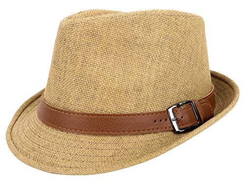 Jasmine Fedora Hat Men Classic Structured Straw Hat w/PU Leather Band,Khaki,S/M
