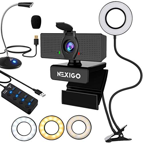 1080P Business Webcam with 2ft USB Hub Switch, Microphone, 3.5 Inch Selfie Ring Light, Mount Stand, and Privacy Cover, for Streaming Online Class, Zoom Skype MS Teams, PC Mac Laptop Desktop
