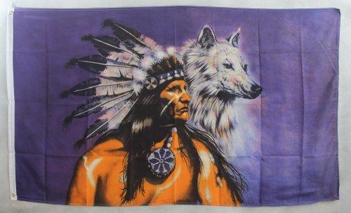 Flagge Fahne ca. 90x150 cm : Indianer mit Wolf
