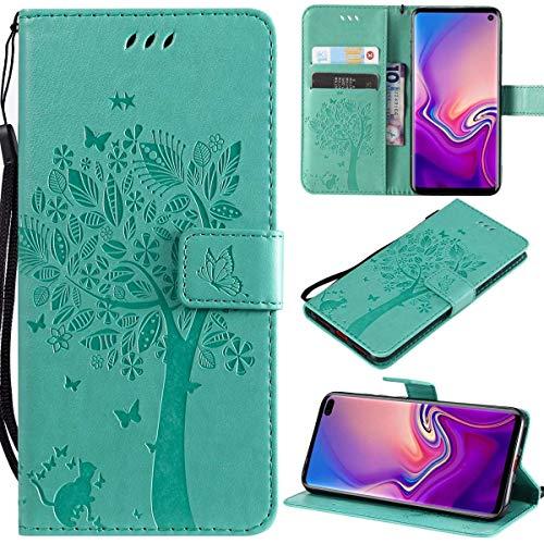 Kihying Pelle Case per Nokia Lumia 435 Cover Custodia Portafoglio a Fogli mobili Staffa e Slot per schede (Verde - KHT02)