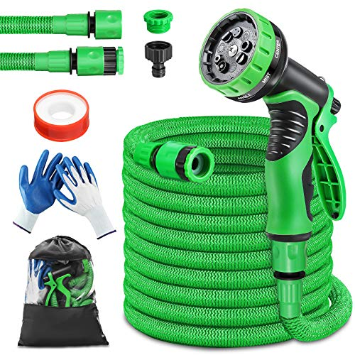 PATHONOR Upgraded Expandable Garden Hose with 9 Function Spray Nozzle...