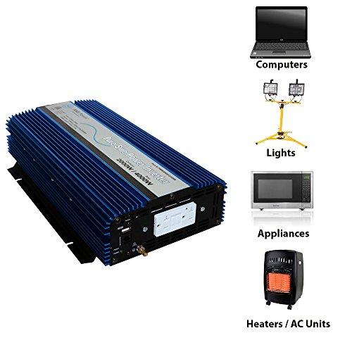 AIMS Power 2000 Watt, 4000 Watt Peak, Pure Sine DC to AC Power Inverter, USB Port, 2 Year Warranty, Optional Remote, Listed to UL 458