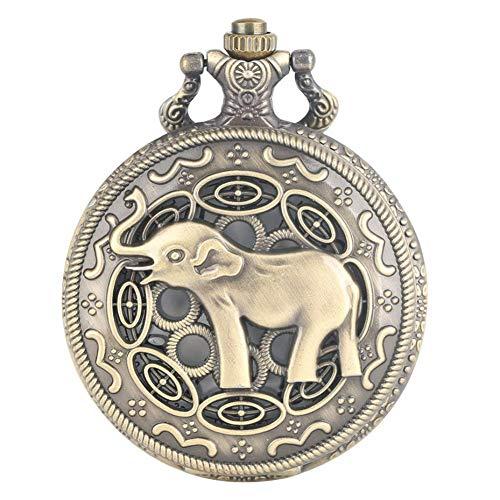 J-Love Reloj Bolsillo Cuarzo con Elefante asiático Hueco Reloj Colgante Bronce Vintage para Hombres y Mujeres con Cadena Fob Retro