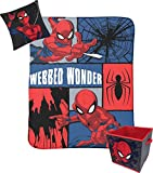 Jay Franco Marvel Spiderman Webbed Wonder Kids 3 Piece Storage Set Includes Plush Throw, Pillow, & Collapsible Storage Bin (Official Marvel Product)