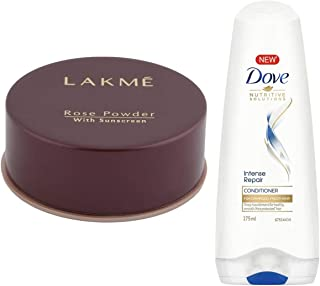 Lakme Rose Face Powder, Warm Pink, 40g & Dove Hair Therapy Intense Repair Conditioner, 175ml