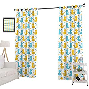 YUAZHOQI Window Treatment Curtains Baby Ducklings Pattern with Cute Little Hearts Love Animals Print Nursery Room, Blackout Curtains for Nursery 52″ x 72″, Blue and Yellow