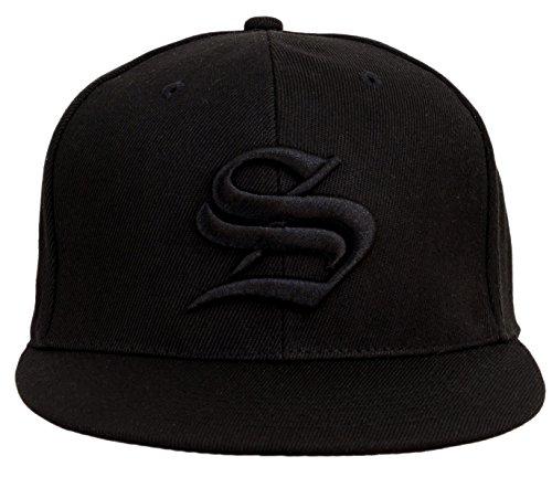 4sold Snapback sombrero con aumentado 3D negro bordado letra gorra de béisbol Hip-Hop Cap sombrero sombrero headwear Negro S Taille unique