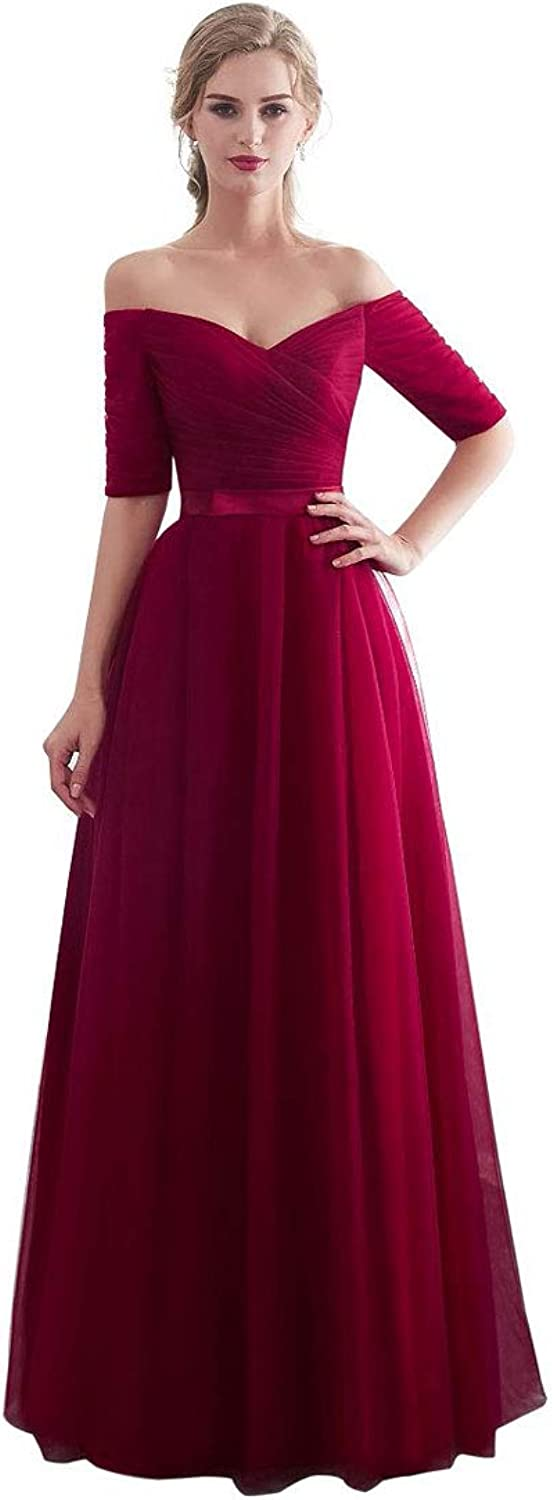 BeautyEmily Half Sleeves Evening Dresses Long Bridesmaid Dress for Formal Party Tulle Prom Gown