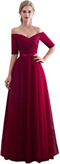 Half Sleeves Evening Dresses Long Bridesmaid Dress for Formal Party Tulle Prom Gown