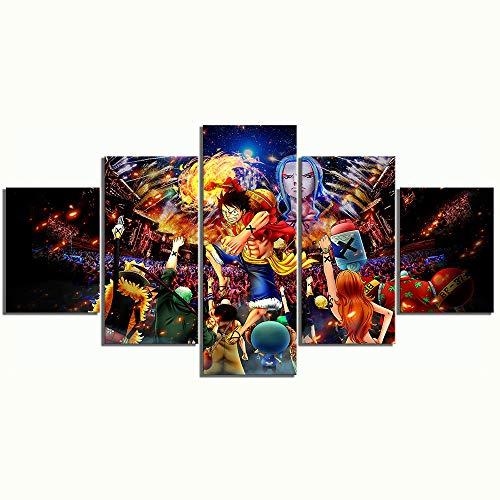 IILSZMT Moderna Decorazione Parete 5 Pezzi Stampa Tela Cappello di Paglia Anime One Piece Wall Art Cornice per Home Decor Canvas
