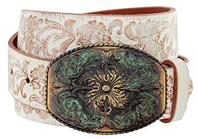 "Women's Western Tooled Full Grain Leather Jean Belt Black Brown 1.5"" (38mm) Wide (White, 32)"
