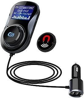 蓝牙 FM 发射器接收器,TOP-MAX 无线无线电发射器适配器免提车载套件,带 QC3.0 智能双 USB 端口,大 LCD 显示屏,Mp3 播放器 TF 卡,适用于 iPhone 的单键控制