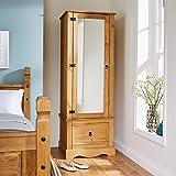 Home Source Corona Pine Armoire Wardrobe 1 Door Mirrored 1 Storage Drawer Solid Wood