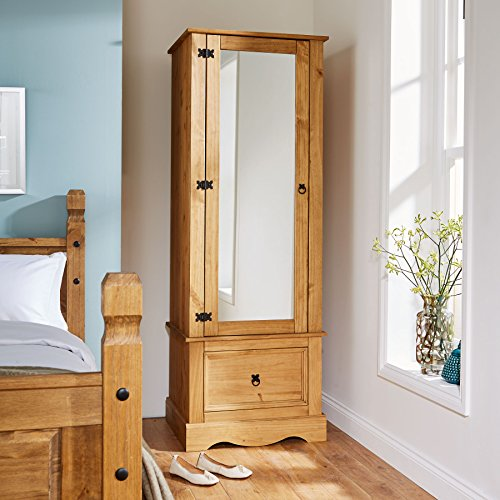 Home Source Corona Pine Armoire Wardrobe 1 Door Mirrored 1 Storage Drawer Solid Wood