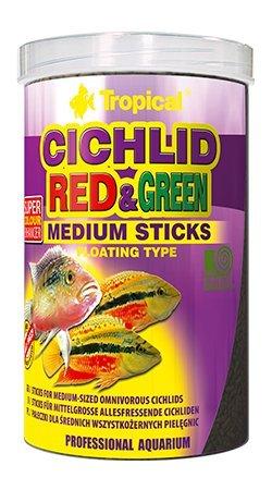 Bâtonnets moyens rouge et vert pour cichlidés moyens 250 ml/90 g