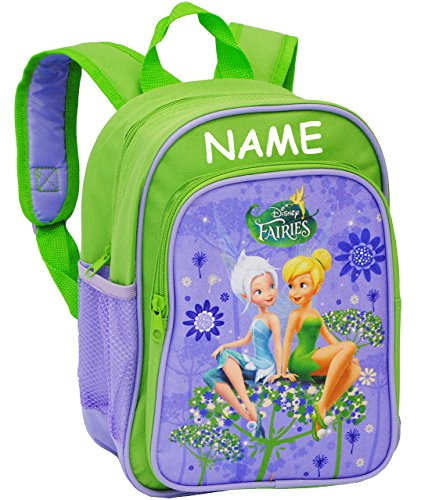 alles-meine.de GmbH Kinder Rucksack -  Disney Fairies - Tinkerbell  - incl. Name - Tasche - wasserfest & beschichtet - Kinderrucksack / groß Kind - Mädchen - z.B. für Kindergar..
