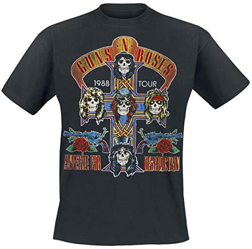 Guns N Roses Tour 1988 Männer T-Shirt schwarz L 100% Baumwolle Band-Merch, Bands, Totenköpfe