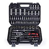Orion Motor Tech 94 pc Socket <span class='highlight'>Set</span> for Home & Auto Repair <span class='highlight'>Tool</span> Kit with 1/4 1/2 Inch Ratchet Handle Allen Keys Standard Deep Metric Sockets Hex Star & Screwdriver Bits with Storage Case