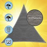 Windhager Sonnensegel, Sonnenschutz, Sunsail ADRIA Dreieck 3,6 x 3,6 x 3,6 m (gleichschenkelig), UV-Schutz, witterungsbeständig; GRANITGRAU; 10967 - 3