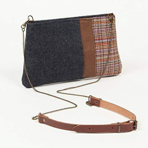 Bolso de hombro pequeño para mujer- Bolso de tela vaquera - Correa larga de cadena y piel - TINY Andean