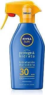NIVEA SUN Protege & Hidrata Spray Solar FP30 (1 x 300 ml), protector hidratante y resistente al agua con protección UVA/UVB, protección solar alta en formato pistola