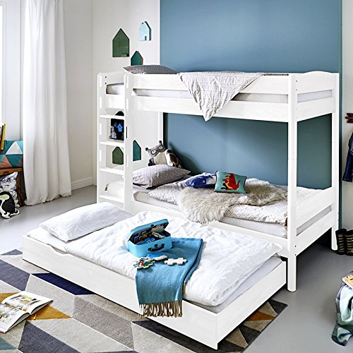Etagenbett mit Leiter & Bettschublade ● massiv weiß lackiert ● Liegefläche 90x200cm inkl. 2 Rolllattenroste ● umbaubar zum Einzelbett