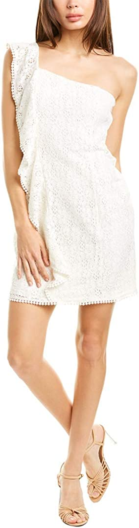 cupcakes and cashmere Women's Aresa Lace One Shoulder Ruffle Dress