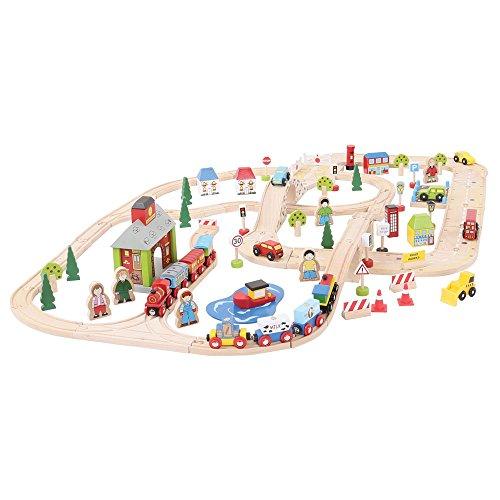 Bigjigs Rail Circuits de Train Et de Route Urbains | Jeu Enfant en Bois | Compatible avec Autre Marques de Train en Bois | Jouet Enfants