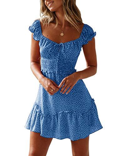YBENLOVER Damska sukienka letnia w kwiaty z wysokim stanem, sukienka w stylu vintage, minisukienka plażowa, niebieski, M