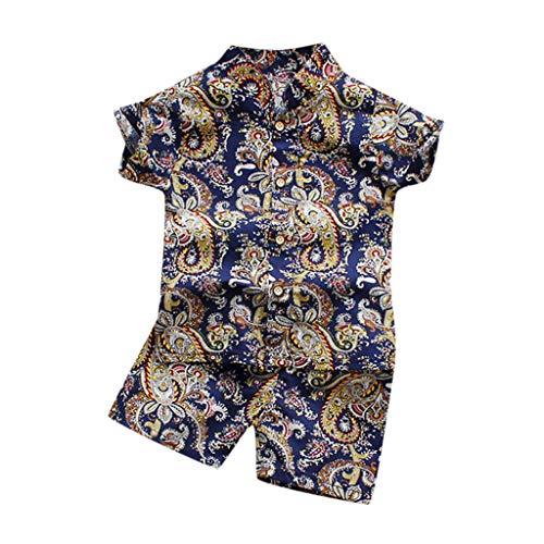Xmiral Kleinkind Jungen 2er Outfits Kurzarm Hemd Shorts Baby Kinder Cartoon-Druck Kleidung Set Lässige Unisex Sommer Beachwear Gentleman Anzug(I Khaki,2-3 Jahre)