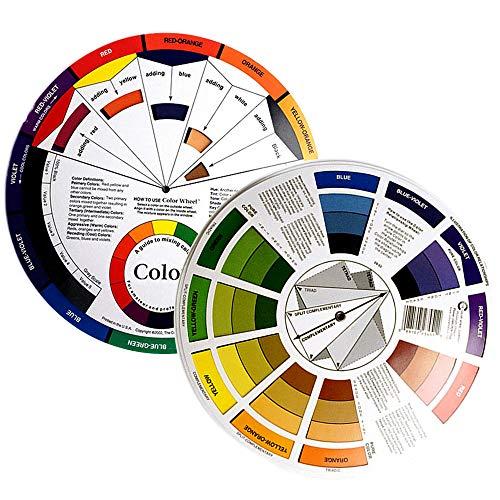 Gurxi Circulo Cromatico Rueda para Mezclar Maquillaje Rueda de Artista de Color Guía Rueda de Color de la Tabla de Maquillaje para Maquillaje Tabla de Mezcla de Colores 2 Piezas