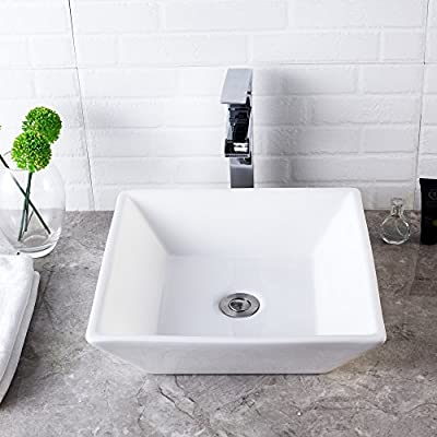 "Lordear 16""x12"" Rectangle Bathroom Sink Pure White Porcelain Ceramic Vessel Sink, Rectrangular Above Counter Sink Art Basin"