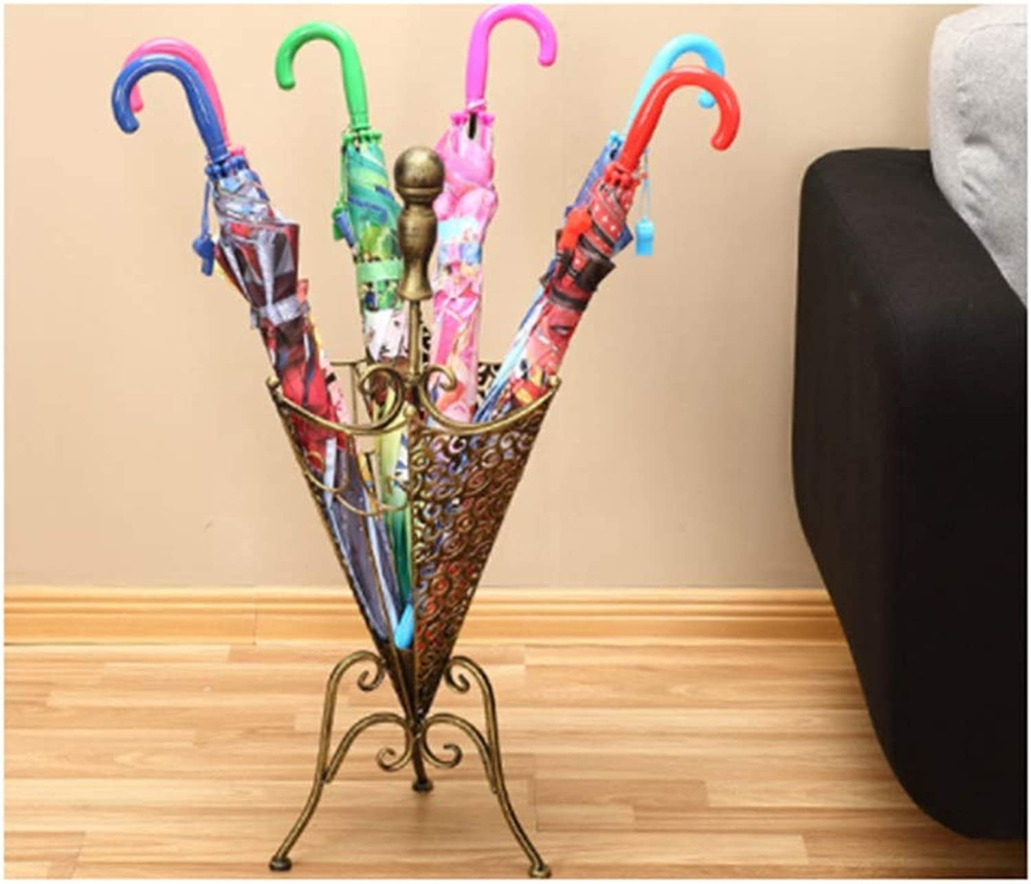 Achang Vintage Carved Cone Wrought Iron Umbrella Stand Home Porch Provincial Space Storage Rack (color   Brass)