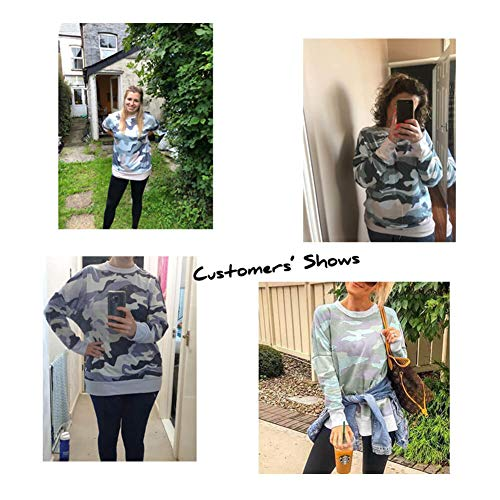 Dokotoo Women Casual Autumn Camo Round Neck Sweatshirts Long Sleeve Oversized Jumpers Tops Shirts Khaki Size 16 18
