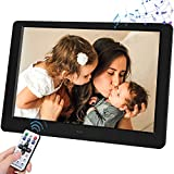 Support SD Card and USB Remote Control Digital Photo Frame, 10-inch Digital Photo Frame with 1280x800, IPS Screen, with 1080P Video, Music, slideshow, Photo Deletion(Black)
