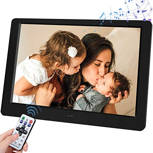 Support SD Card and USB Remote Control Digital Photo Frame, 10-inch Digital Photo Frame with 1280x800, IPS Screen, with 1080P Video, Music, slideshow, Photo Deletion(Black) Digital Frames Picture
