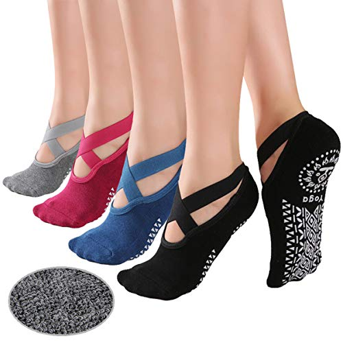 KaiYunSheng elásticos calcetines de yoga antideslizantes para mujer, antideslizantes, para pilates, para mujer, calcetines de ballet, con empuñaduras, 4 pares