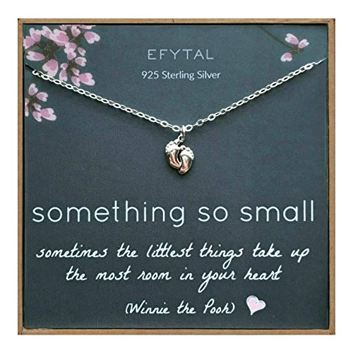 Sterling Silver tiny baby feet Necklace Product Image