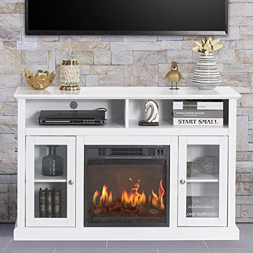 """GOOD & GRACIOUS Electric Fireplace TV Stand, Fit up to 50"""" Flat Screen TV with Two Tempered Glass Cabinet Entertainment Center for Living Room, White"""