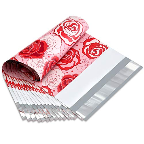 UCGOU 6X9 2.35MIL Waterproof Envelopes Red and Pink Roses Designer Poly Mailers Shipping Envelopes Boutique Custom Bags Shipping Envelopes Bags 100Pcs