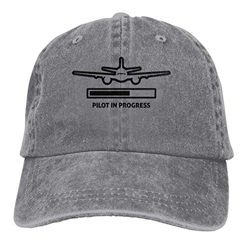 Hoswee Unisex Kappe/Baseballkappe, Pilot is Progress Cowboy Cap Adjustable Dad Baseball Hat Gray