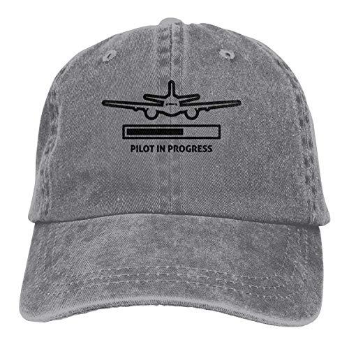Hoswee Unisex Kappe/Baseballkappe, Pilot is Progress Cowboy Cap Adjustable Dad Baseball Hat Gray
