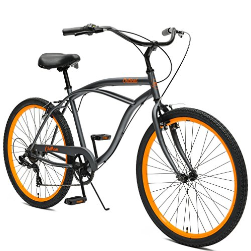 Critical Cycles by Westridge Chatham Men's Seven Speed Beach Cruiser, 18'/One Size, Graphite/Orange