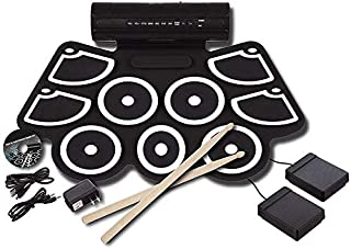 DBAF Kids Drum Set,Drum Toy Hand Roll Electronic Drum Percussion Thicken Silicone Hand Roll Drum Drum USB Electronic Drum (Color : Black) Beginners Drum Kit Set