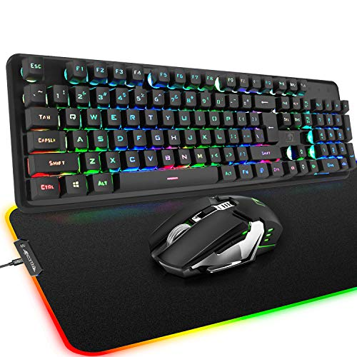Wireless Keyboard and Mouse Mousepad, 3 in 1 Rainbow LED Backlit Rechargeable Mechanical Feelling Backlit Gaming Keyboard Mice Combo with 4800 mAh Battery, 10 Color RGB Mouse Pad for Laptop Pc Mac