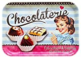Lashuma Bandeja de postre rectangular con diseño de chocolate, 38 x 26 cm,...