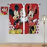 ARYAGO Cortinas opacas con bolsillo superior para barra, cortinas de Mickey Mouse, Mickey Minnie Mouse cortina de ventana de tela para dormitorio/sala de estar 42 x 172 pulgadas