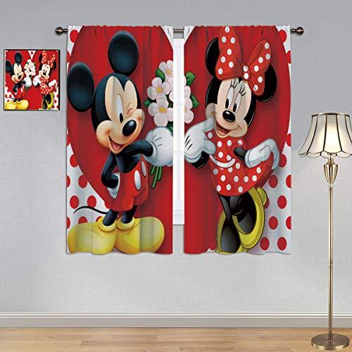 ARYAGO Cortinas opacas con aislamiento térmico de eficiencia energética, con diseño de Mickey Mouse, cortinas de eficiencia energética para dormitorio infantil de 106 x 137 cm